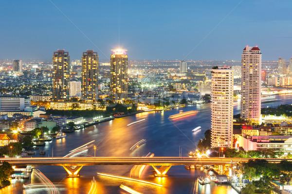Bangkok skyline centrum luchtfoto rivier zonsondergang Stockfoto © vichie81