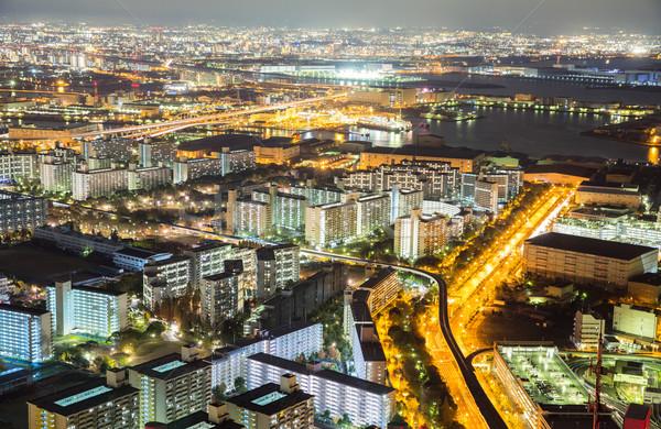 Foto stock: Osaka · linha · do · horizonte · noite · edifício · Japão · edifícios