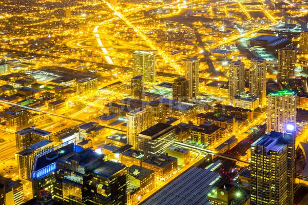 Chicago stad centrum luchtfoto nacht hemel Stockfoto © vichie81