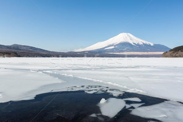 Stockfoto: Mount · Fuji · meer · winter · hemel · water