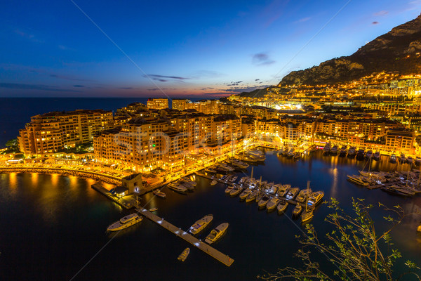 Mônaco porto água casa cidade pôr do sol Foto stock © vichie81