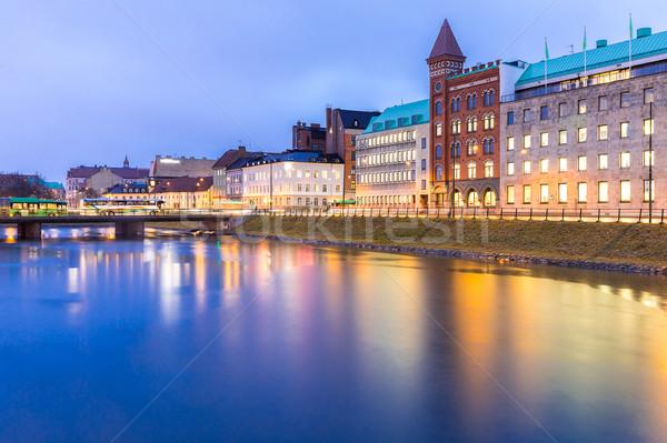 Cityscape İsveç şehir merkezinde gece tan su Stok fotoğraf © vichie81