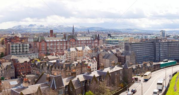 Stock fotó: Panoráma · Edinburgh · Skócia · épület · naplemente · templom