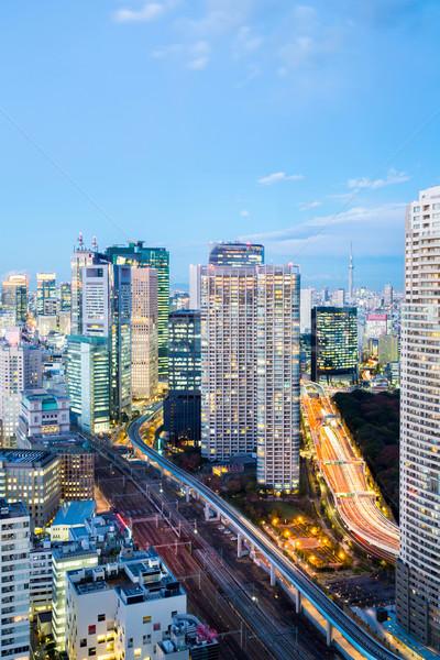 Tokio paisaje urbano centro de la ciudad oficina horizonte rascacielos Foto stock © vichie81