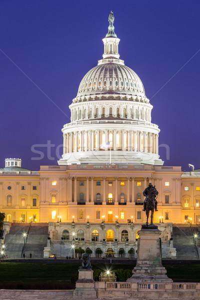 Stok fotoğraf: Bina · akşam · karanlığı · Washington · DC · ABD · gökyüzü · su