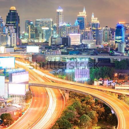 Stok fotoğraf: Bangkok · şehir · merkezinde · karayolu · iş · gökyüzü