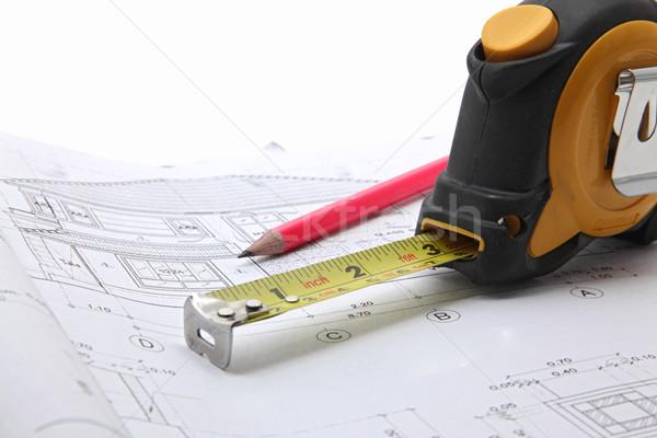Herramientas construcción plan cinta métrica lápiz casa Foto stock © vichie81