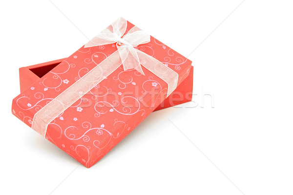 perspective of isolated open red holiday gift box with sapce for Stock photo © vichie81