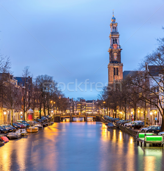 Batı kilise katedral Amsterdam Hollanda akşam karanlığı Stok fotoğraf © vichie81