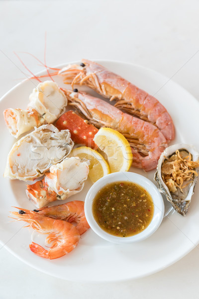 Koud zeevruchten ingesteld gekruid saus restaurant Stockfoto © vichie81