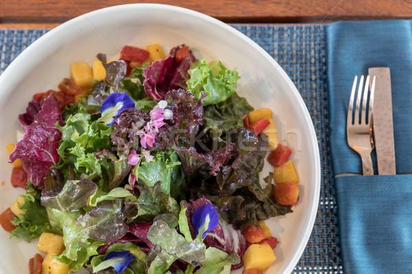 Foto d'archivio: Verde · insalata · frutta · fresca · frutta · salute · sfondo