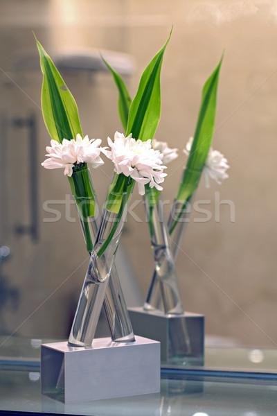 Fiore bianco spa decorazione ancora vita primavera foglia Foto d'archivio © vichie81