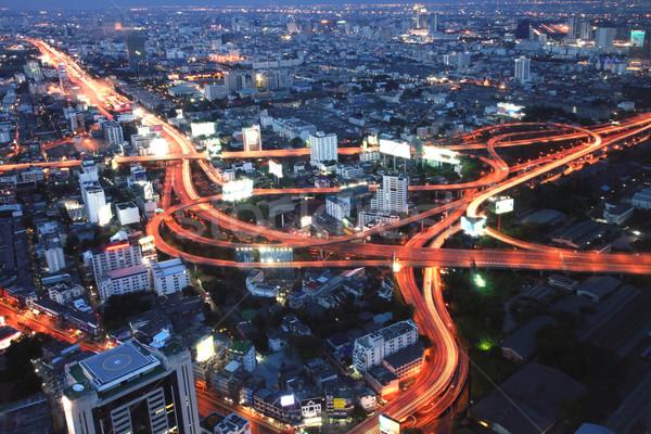 Stockfoto: Bangkok · snelweg · schemering · luchtfoto · Thailand · hemel