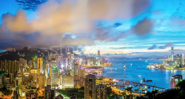 Aerial Panorama Hong Kong Stock photo © vichie81