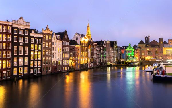 Amsterdam schemering kerk water huis Stockfoto © vichie81