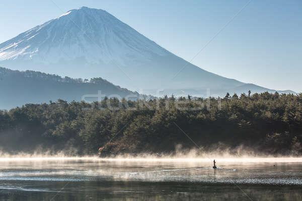Montanha fuji lago inverno nascer do sol água Foto stock © vichie81