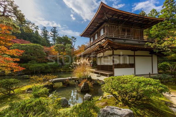 Kyoto temple argent Japon eau bâtiment Photo stock © vichie81