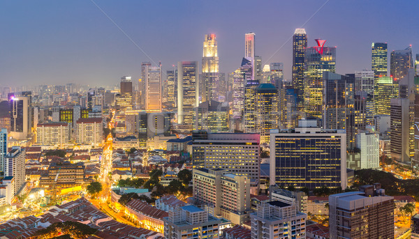 Nuit panoramique gratte-ciel affaires ville paysage Photo stock © vichie81
