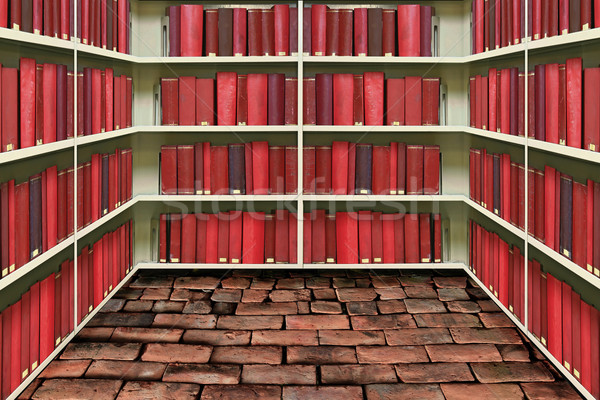 red hard cover book on shelf in old brick library Stock photo © vichie81
