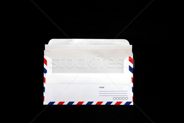 Geïsoleerd luchtpost envelop vintage papier zwarte Stockfoto © vichie81