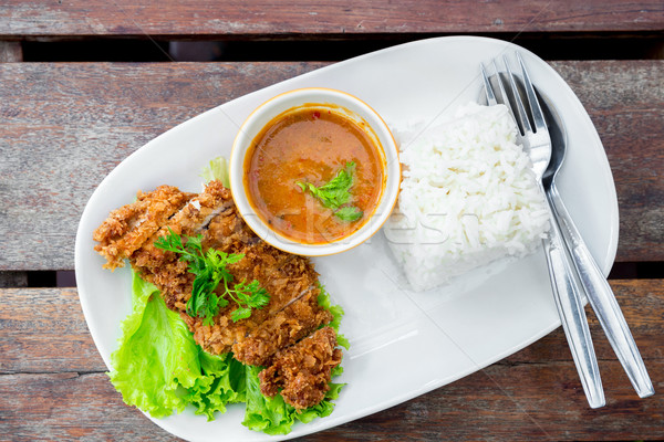 deep fried pork with rice Stock photo © vichie81