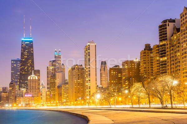 Chicago schemering centrum meer Michigan gebouw Stockfoto © vichie81
