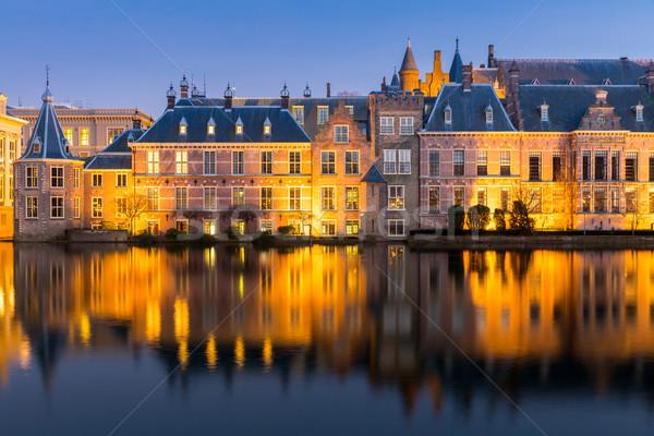 Parlamento saray yer Hollanda akşam karanlığı iş Stok fotoğraf © vichie81
