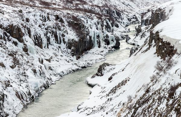 зима пейзаж Исландия Панорама реке утес Сток-фото © vichie81