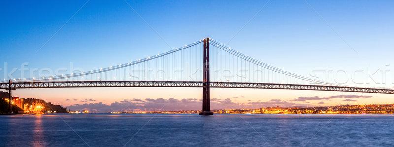 Lisboa puente panorama paisaje urbano 25 puente colgante Foto stock © vichie81
