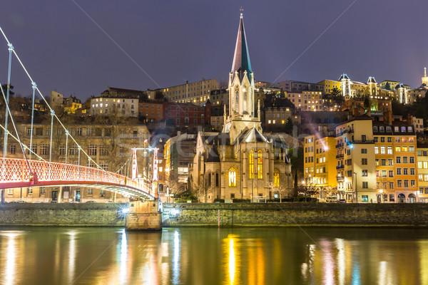 Lyon igreja noite França água árvores Foto stock © vichie81