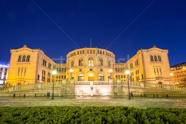 オスロ 議会 夕暮れ ノルウェー 家 建物 ストックフォト © vichie81
