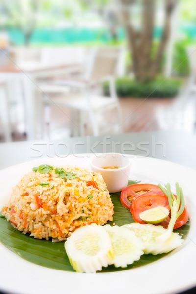 Сток-фото: жареный · риса · ресторан · продовольствие · яйцо · зеленый
