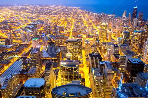 Stock fotó: Chicago · város · tó · Michigan · légifelvétel · égbolt