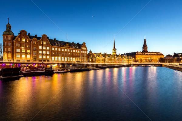 Копенгаген Дания ночь Cityscape сумерки семьи Сток-фото © vichie81