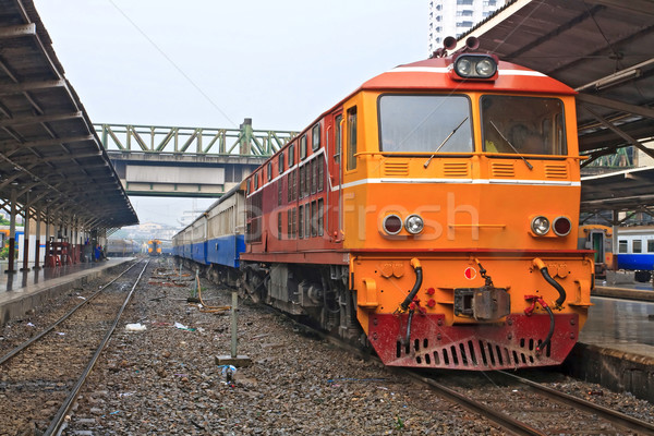 Diesel Lokomotive Zug rot orange Stock foto © vichie81
