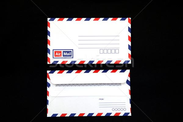 Geïsoleerd vintage lucht mail envelop zwarte Stockfoto © vichie81