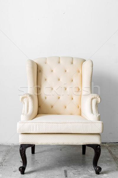 Beige retro stoel klassiek weefsel stijl Stockfoto © vichie81