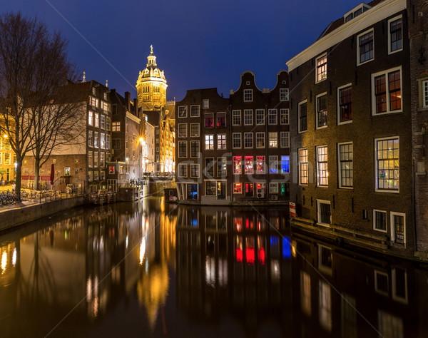 Amsterdam noite igreja crepúsculo água Foto stock © vichie81