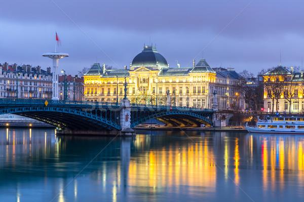 Lyon Université pont France rivière nuit Photo stock © vichie81