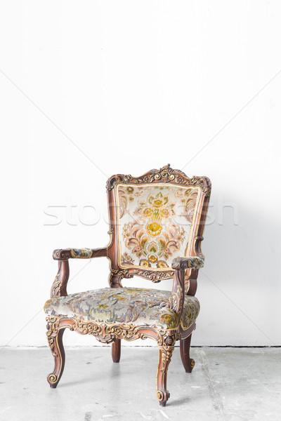 Stockfoto: Vintage · stoel · klassiek · stijl · witte · kamer