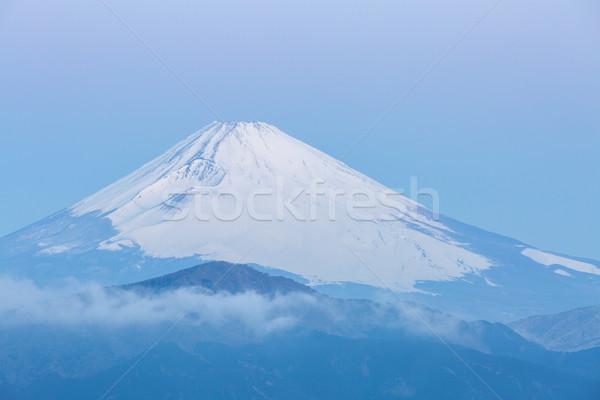 Fuji dağ göl gündoğumu kış gökyüzü Stok fotoğraf © vichie81