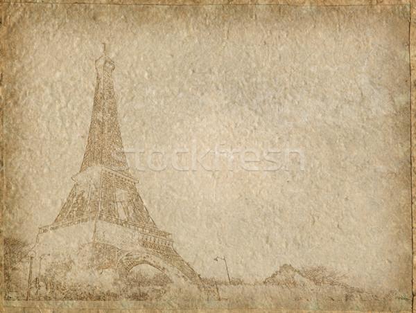 Zdjęcia stock: Vintage · papieru · Wieża · Eiffla · Paryż · tekstury · tle