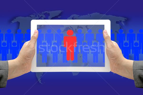 Elektronische werving procede business hand houden Stockfoto © vichie81