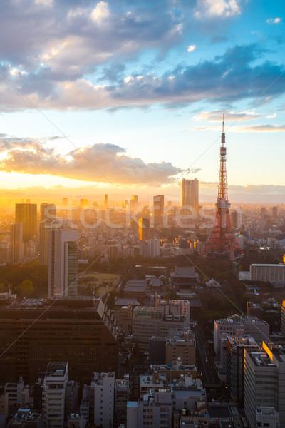 Tokio toren zonsondergang luchtfoto stadsgezicht schemering Stockfoto © vichie81