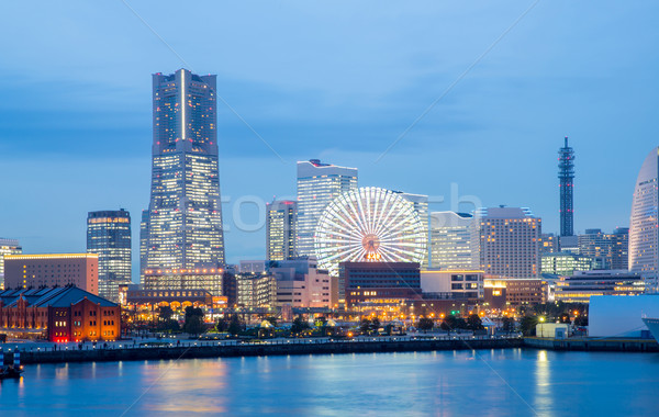 Иокогама Skyline сумерки здании небоскреба центра Сток-фото © vichie81