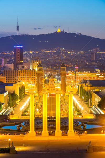 Barcelona crepúsculo Espanha edifício cidade rua Foto stock © vichie81