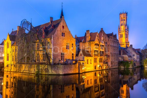 Бельгия сумерки исторический средневековых зданий канал Сток-фото © vichie81