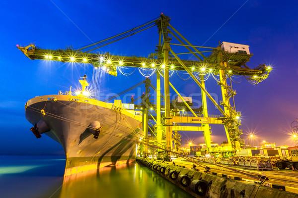 Industriële haven containerschip schemering industrie touw Stockfoto © vichie81