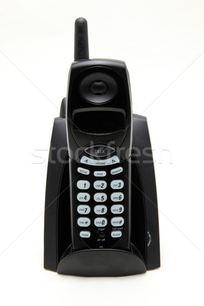 isolated black cordless phone on white Stock photo © vichie81