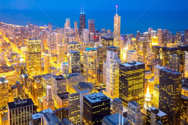 Stok fotoğraf: Chicago · şehir · merkezinde · akşam · karanlığı · şehir · gökyüzü